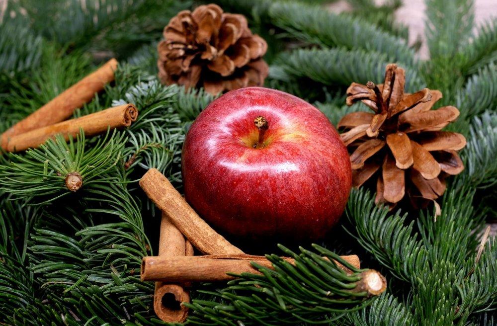 Vánoční výzdoba - jablko, šišky, skořice