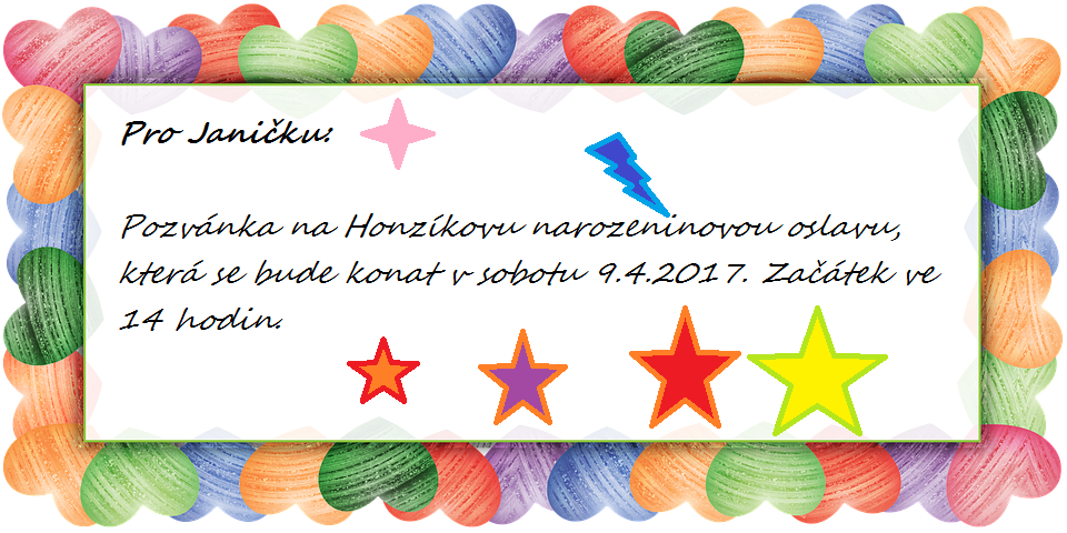 Pozvánka na narozeniny
